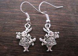 Wholesale Earring Antique silver WHITE RABBIT SP Earrings z570