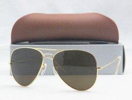 Wholesale G15 Lens MEN S SUN GLASS METAL PILOT SUNGLASSES MIRROR LENS ORIGINAL BOX CARD CLOTH