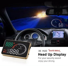 Wholesale US Stock X6 quot Car HUD Head Up Display OBD Speed Warning Vehicle mounted Security System Fuel icon Multi function Display