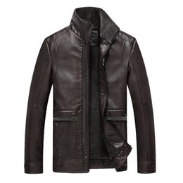 Fall-2015 New Man Jacket autumn and winter new middle-aged men PU leather Down jackets men's leather down-jacket Men coat Wholesale