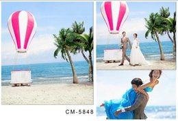 Wholesale 200cm cm ft ft wedding background Beach sea hot air balloon photo background photography backdrops cm