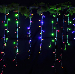 96LED 3.5M 220V Curtains Waterproof String Lights Christmas Window Party with 8 Modes for Wedding Party Holiday Night Lamp Red Blue Green