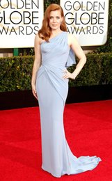 Wholesale 2015 nd Golden Globe Awards Celebrity Dresses Amy Adams Light Blue Jersey One Shoulder Sleeveless Sweep Train Celebrity Red Carpet Dress