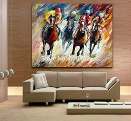 Wholesale Palette Knife Oil Painting Horse Racing Male Rider Picture Printed on Canvas for Home Living Hotel Cafe Wall Decor