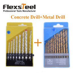 Forets en métal à vendre-Flexsteel 8PCS HSS manuel de maçonnerie Rock Drill Bits mis pour le béton + 13pcs HSS Titanium Twist foret bits mis au métal