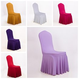 Wholesale Cheap Elastic Home Polyester Spandex Red Gold Wedding Chair Covers Universal Banquet Folding Hotel Meeting Chair Skirt Decoration