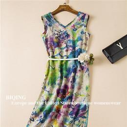 Summer Dress Big Brand Fabric Silk&Linen Print V-Neck High Quality Plus Size Vintage Maxi Dress Beach Sexy Long Dress With Belt