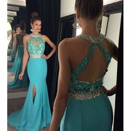 Sexy Beading Prom Dresses 2016 Halter Pleats Appliqued Mermaid Hot Sweep Train Chiffon Party Evening Dress Custom made