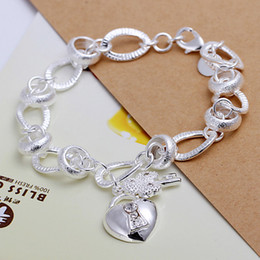 Hot sale 925 silver Hanging insets heart lock, flower spoon Bracelet DFMCH081,fashion 925 sterling silver plated Chain link bracelets