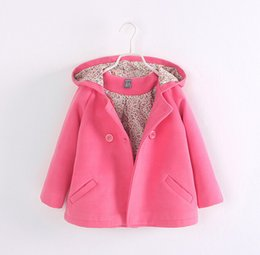 Wholesale 2015 new autumn winter children double breasted boutique hooded wool coats jacket baby girls fashion overcoat trench clothes for T