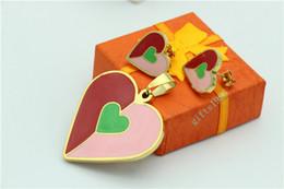 Pretty heart-shaped pendant earrings set stainless steel ladies jewelry