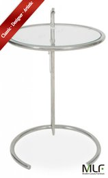 Wholesale MLF Eileen Gray End Table Adjustable Height Table Safe Tempered Circle Leveled Glass Top Stainless Steel Tubular Frame