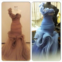 Custom Made Floral Fold One-Shoulder Mermaid Long Formal Evening Dresses With Bead Organza Elegant Prom Dress Sexy Party Gowns No Sleeve