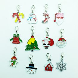 Mix Sale Floating Charms Fashion Christmas Charm With Lobster Clasp DIY Christmas Decoration Jewelry Making Findings