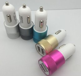 Mini Aluminum Material Dual 2 Port Universal USB Car Charger Cable Adapter For iphone ipad 2 3 4 5 6 Samsung Galaxy S4 S5 note