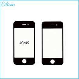 Wholesale DHL High Quality A New LCD Front Screen Glass For iPhone S iphone4 Outer Touch Screen Glass Lens Repair Replacement Oil No Scratch