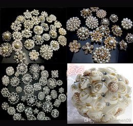 Wholesale 25Px SILVER GOLD X Mixed Bulk Wedding Bridal Decoration Silver Colour Flower Crystals Brooches Brooch Bouquet Rhinestones