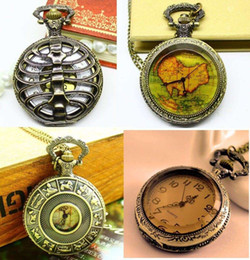 Wholesale 12pcs Victorian Style Antique Punk Vertebra Map Pocket Watch Necklace AB MW2 designs mixed dandys