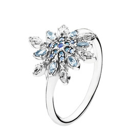 Snowflake Clear CZ and Mixed Blue Shades of Crystal and CZ Certificated 100% 925 Sterling Silver Ring Fashion Jewelry Free Shipping