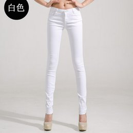 Wholesale-Plus Size Colored Stretch Fashion Female Candy Colored Pencil Women's Pants Denim Trousers Sexy Elastic Cotton DeminJeans