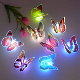 Wholesale 2015 Romantic Colorful LED Butterfly Night Light Dream Bed Lamp Home Illumination pieces