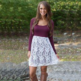 Women Autumn Winter Dress White Lace Overlay Shift Dress Burgundy Scoop Neck Long Sleeve Mini Day Dresses HMF0341