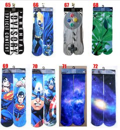 Wholesale 2015 new color d superman socks women men hip hop cotton skateboard printed tiger odd sox socks Unisex stocking hosiery BBB2720 pair