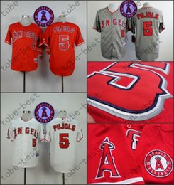 Wholesale Albert Pujols Jersey with th Patch Cool Base Los Angeles Angels Jerseys Stitched White Grey Red