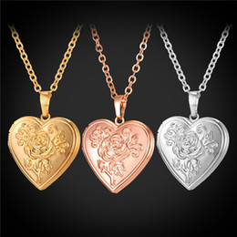 U7 Floating Locket Flower Heart Pendant Necklace 18K Real Gold Platinum Plated Fashion Jewelry Gift For Love Romantic Rose Accessories