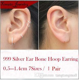 Wholesale Cartilage Hoops - 1 Pair Sterling Silver Small Endless Hoop Earrings For Cartilage Nose or Lips Diameter 5mm-14mm Fine Jewelry Girl Brincos Gifts A3
