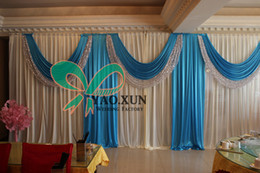 One Full Set 10ft*20ft White Wedding Backdrop Drape Curtain And Turquoise Coloe Drape Swag With The Backdrop Stand \ Pipe Stent