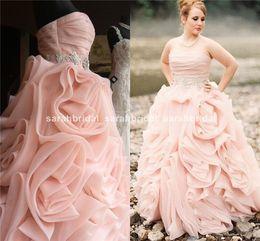 Wholesale Buy Blush Silk Organza A Line Ball Bridal Gowns Online Shop Cheap Strapless Corset Wedding Gowns Flange Ruffle Skirt Beach Garden Cheap