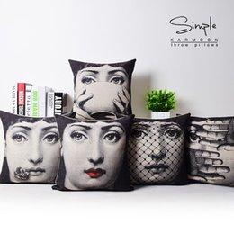 Wholesale 2016 European Retro Fornasetti Face Art Girls Emoji Cushions Pillows Covers Linen Cotton Pillow Case Decorative Sofa Couch Cushion Cover Pre