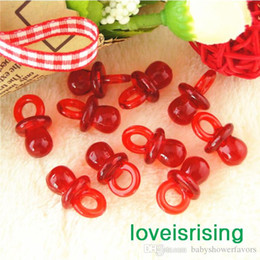 Free shipping-100pcs pack 22mm*11mm Clear Red Mini Acrylic Baby Pacifier Baby Shower Favors~Cute Charms ~Party Decorations