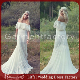 Country Boho Wedding Dresses Cheap 1970s Bohemian Wedding Dress Off The Shoulder A-line Ivory Chiffon and Lace Beach Bridal Wedding Gowns