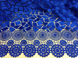 Wholesale 2014 latest African guipure lace fabric cupion lace chemical for wedding royalblue DH1000
