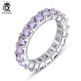 ORSA AAA Grade Purple Austrian Cubic Zircon Wedding Bands for Women Never Ending Band Ring Wholesale OR31-P