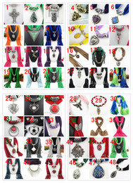 Wholesale Mixed Design Pendant Scarf Jewelry Women Necklace Scarf Fashion Style Beads Tassel Soft Scarf