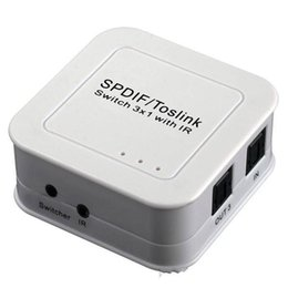 Wholesale DHL Worldwide Shipping Fiber Optic SPDIF TOSLINK Digital Optical Audio Switcher x1 Remote IR Control White D5186B