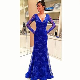 Hot Sale Mermaid Royal Blue Long Evening Dresses 2016 New Arrival Lace Long Sleeves Women Formal Dresses Prom Evening Gowns