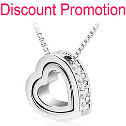 Wholesale-Promotion 18K White yellow Gold Plated Austrian Crystal rhinestones float floating double Heart Pendant Necklace jewelry 117