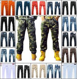 Wholesale New brand Men s Jeans high quality Fashion Trousers Denim designer Straight Men Pants Camo Jeans size