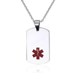 Medical Alert Stainless Steel Large ID Dog Tag Pendant Necklace Mens Medical ID Jewelry Includes 20 Inch Chain