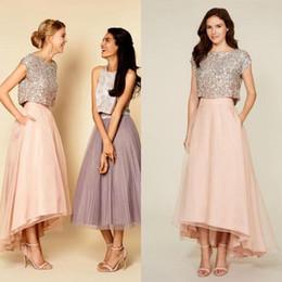 Sparkly Crew Neck Cap Sleeves Sequins Top Two Pieces Bridesmaid Dresses 2017 Vintage Tea Length Prom Dresses Wedding Party Dresses BA1584