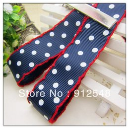 Wholesale 7 inch mm Printed Three white Dots Crochet Grosgrain Ribbon with red edges yards roll MMsd004