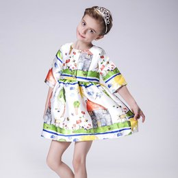 Wholesale Girls Dresses Princess Ball Gown Spring Autumn Clothing Birthday Party Elegant Ink Wash Painting Dress Children Free Drop Ship