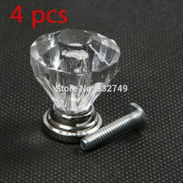 Wholesale 4 Crystal Transparent Cabinet Knobs and Handle Modern Clear Crystal Door Handle Acrylic Drawer Furniture Handles order lt no track