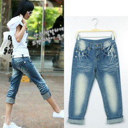 Wholesale-Best Selling Korea Summer Women Straight Loose Large Size Capris Zipper Fly Pleated Scratched Brief Style Jeans 9063
