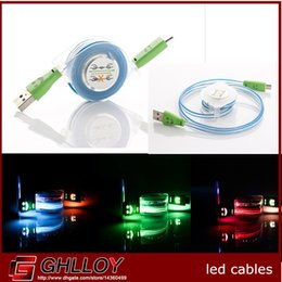 LED Flexible Retractable Micro USB Cable Data Sync Charging Cord for Sony HTC Samsung S6 S4 S3 50pcs