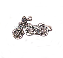 Wholesale a antique silver plated zinc studded with sparkling Motorcycle Crystal Pendant